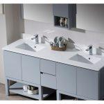 Monaco Modern 72″ Metal Gray Double Bathroom Vanity Set with Mirror and Wall Cabinet
