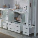 Sydney Modern 102″ Bathroom Vanity Set with Mirror Linen Cabinet Glossy White