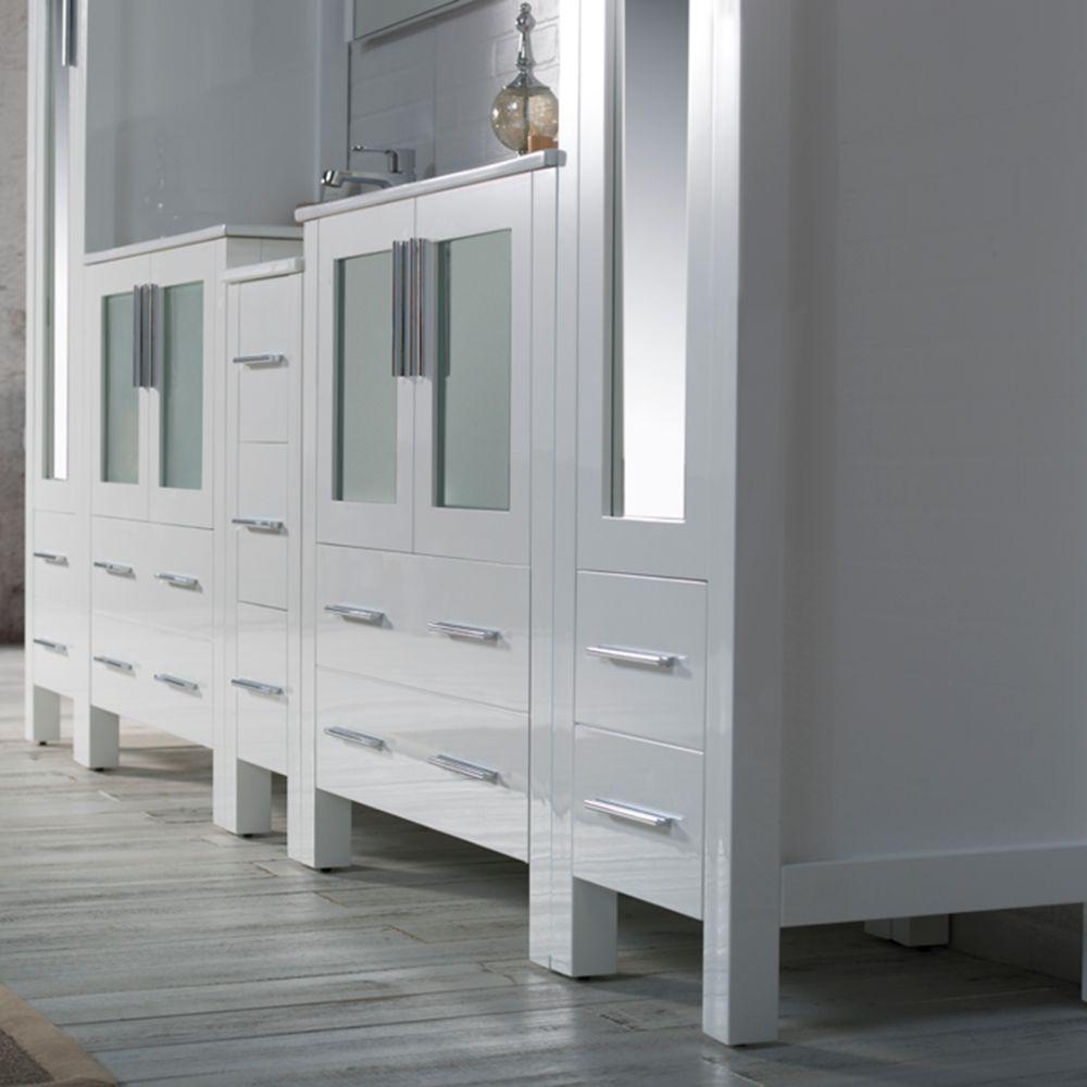 "Sydney Modern 102"" Bathroom Vanity Set with Mirror Linen Cabinet Glossy White"