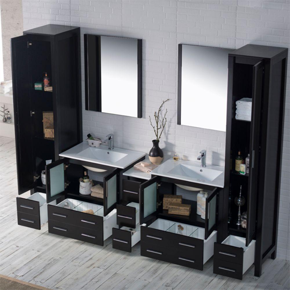 "Sydney Modern 102"" Bathroom Vanity Set with Mirror Linen Cabinet Espresso"