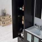 Sydney Modern 102″ Bathroom Vanity Set with Mirror Linen Cabinet Espresso