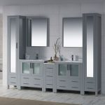 Sydney Modern 102″ Bathroom Vanity Set with Mirror Linen Cabinet Metal Gray
