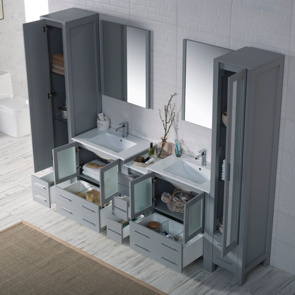 "Sydney Modern 102"" Bathroom Vanity Set with Mirror Linen Cabinet Metal Gray"