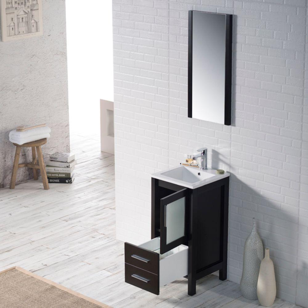 "Sydney Modern 16"" Bathroom Vanity Set with Mirror Espresso"