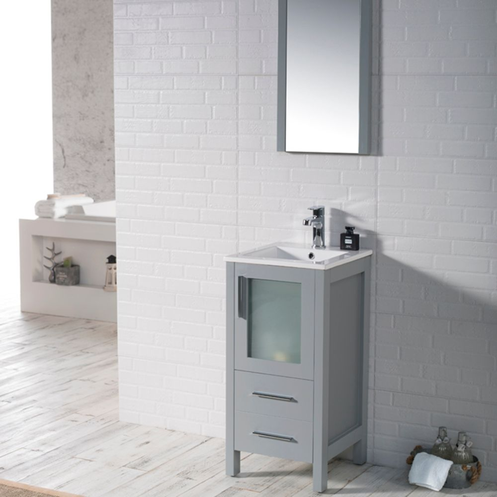 "Sydney Modern 16"" Bathroom Vanity Set with Mirror Metal Gray"