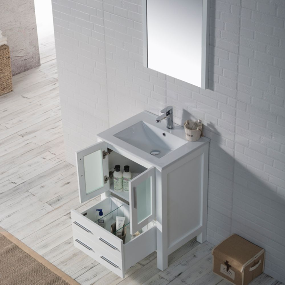 "Sydney Modern 24"" Bathroom Vanity Set with Mirror Glossy White"