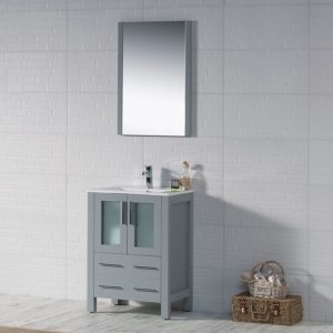 "Sydney Modern 24"" Bathroom Vanity Set with Mirror Metal Gray"