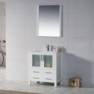 "Sydney Modern 30"" Bathroom Vanity Set with Mirror Glossy White"