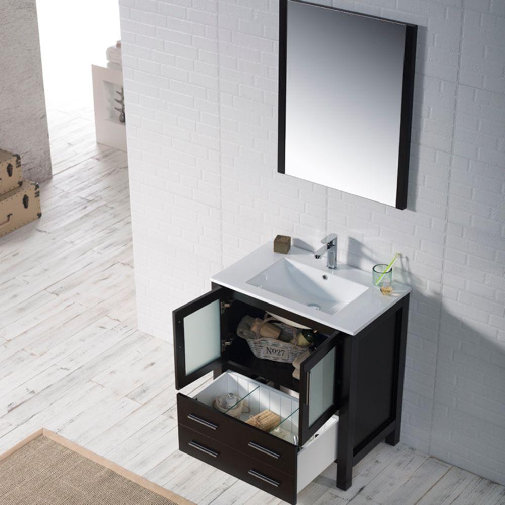 "Sydney Modern 30"" Bathroom Vanity Set with Mirror Espresso"