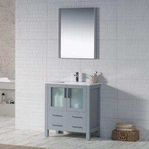 "Sydney Modern 30"" Bathroom Vanity Set with Mirror Metal Gray"
