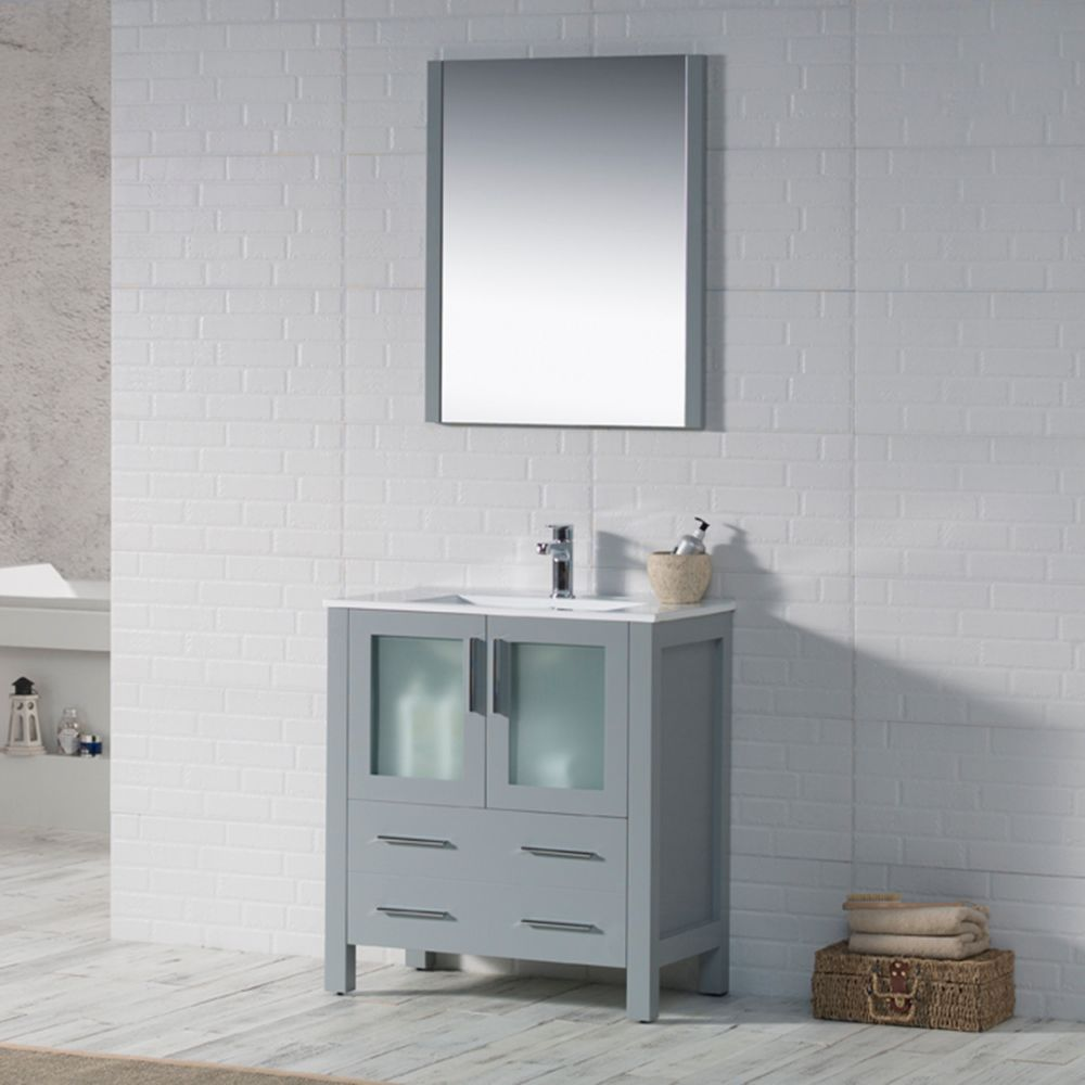 "Sydney Modern 30"" Bathroom Vanity Set with Mirror Metal Gray"