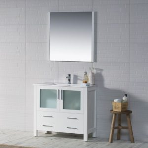 "Sydney Modern 36"" Bathroom Vanity Set with Mirror Glossy White"