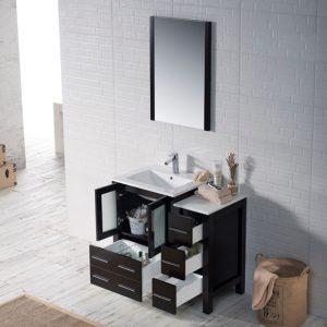 "Sydney Modern 36"" Bathroom Vanity Set with Side Cabinet Espresso"