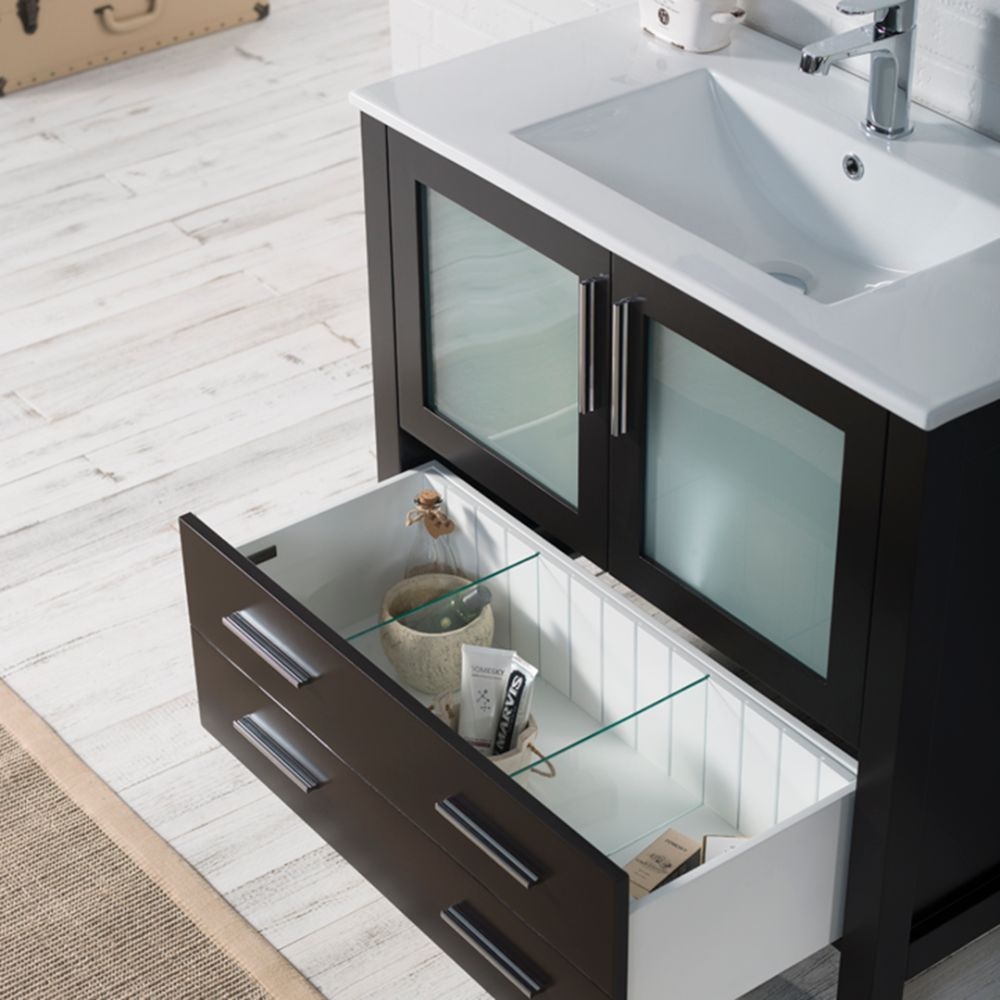 "Sydney Modern 36"" Bathroom Vanity Set with Mirror Espresso"
