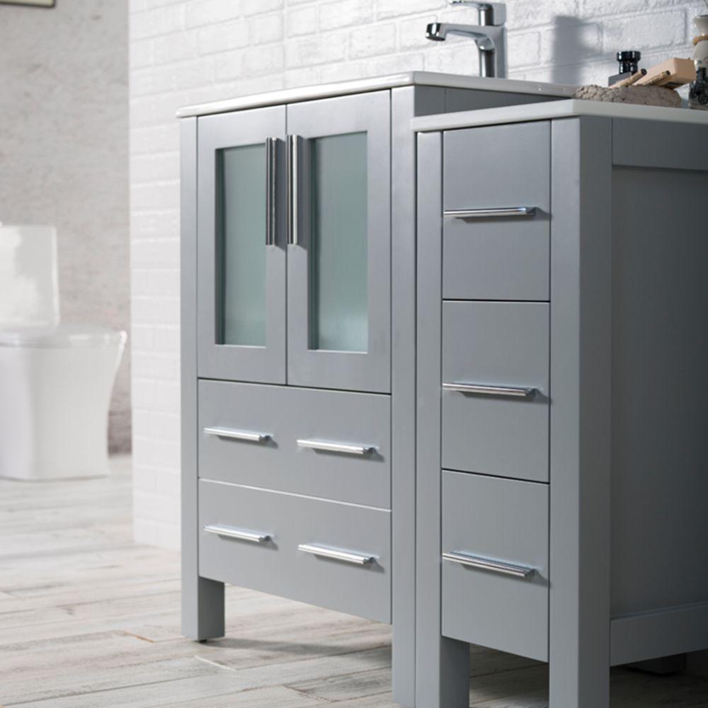 "Sydney Modern 36"" Bathroom Vanity Set with Side Cabinet Metal Gray"