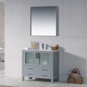 "Sydney Modern 36"" Bathroom Vanity Set with Mirror Metal Gray"