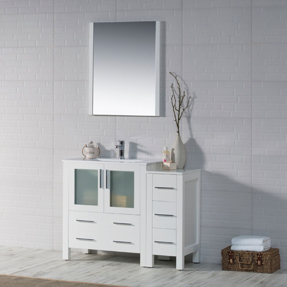"Sydney Modern 42"" Bathroom Vanity Set with Side Cabinet Glossy White"