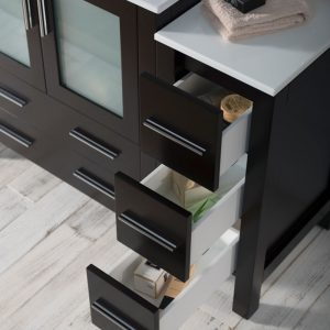 "Sydney Modern 42"" Bathroom Vanity Set with Side Cabinet Espresso"