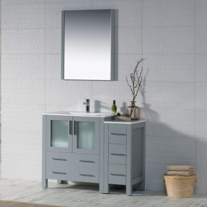 "Sydney Modern 42"" Bathroom Vanity Set with Side Cabinet Metal Gray"