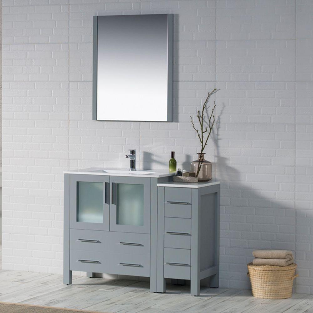 "Sydney Modern 42"" Bathroom Vanity Set with Side Cabinet Metal Gray"