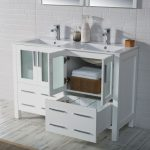 Sydney Modern 48″ Double Bathroom Vanity Set with Mirrors Glossy White