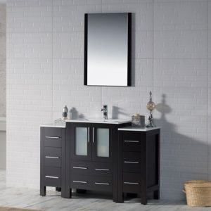 "Sydney Modern 48"" Bathroom Vanity Set with Double Side Cabinets Espresso"