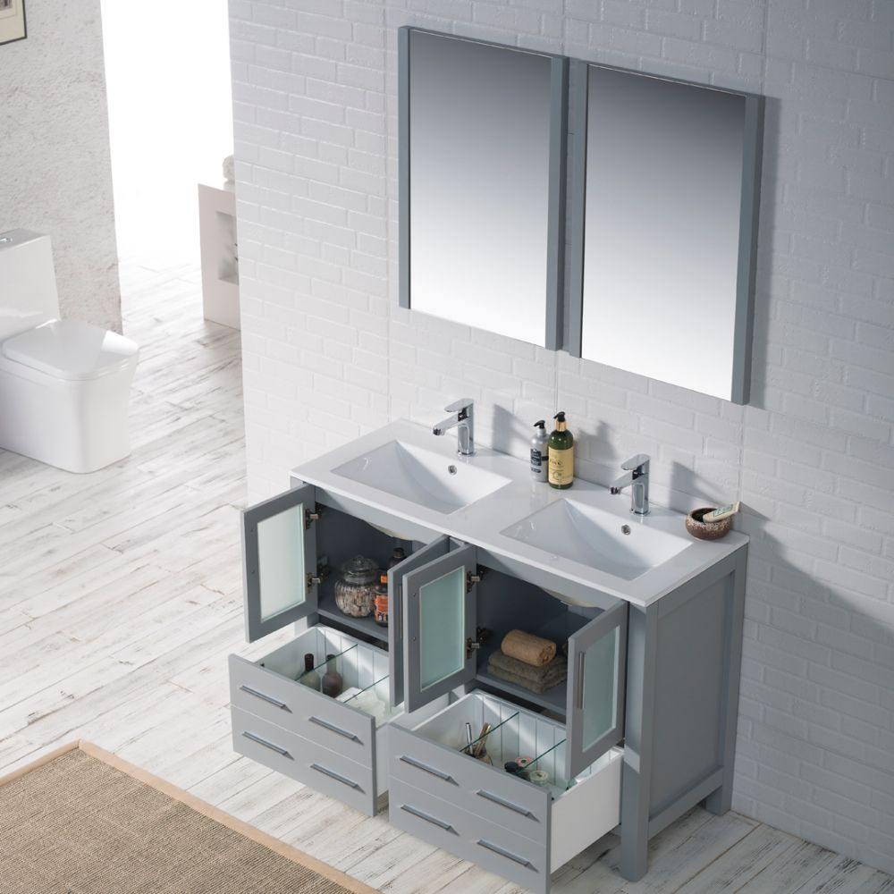 "Sydney Modern 48"" Double Bathroom Vanity Set with Mirrors Metal Gray"