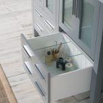 Sydney Modern 48″ Double Bathroom Vanity Set with Mirrors Metal Gray