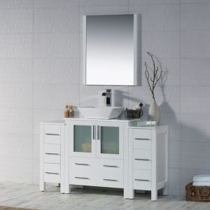 """Sydney Modern 54"""" Bathroom Vanity Set with Vessel Sink and Double Side Cabinets Glossy White"""