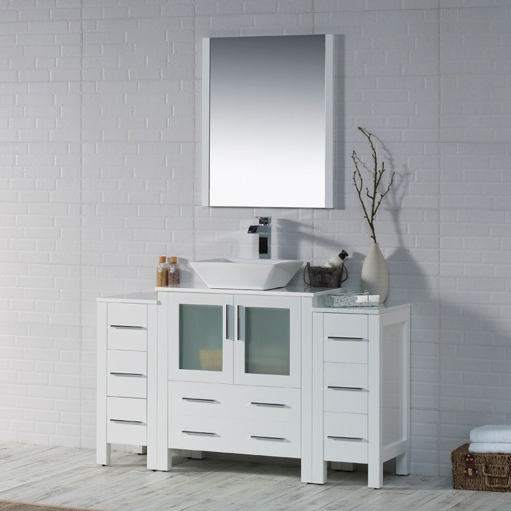 "Sydney Modern 54"" Bathroom Vanity Set with Vessel Sink and Double Side Cabinets Glossy White"
