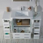 Sydney Modern 54″ Bathroom Vanity Set with Double Side Cabinets Glossy White