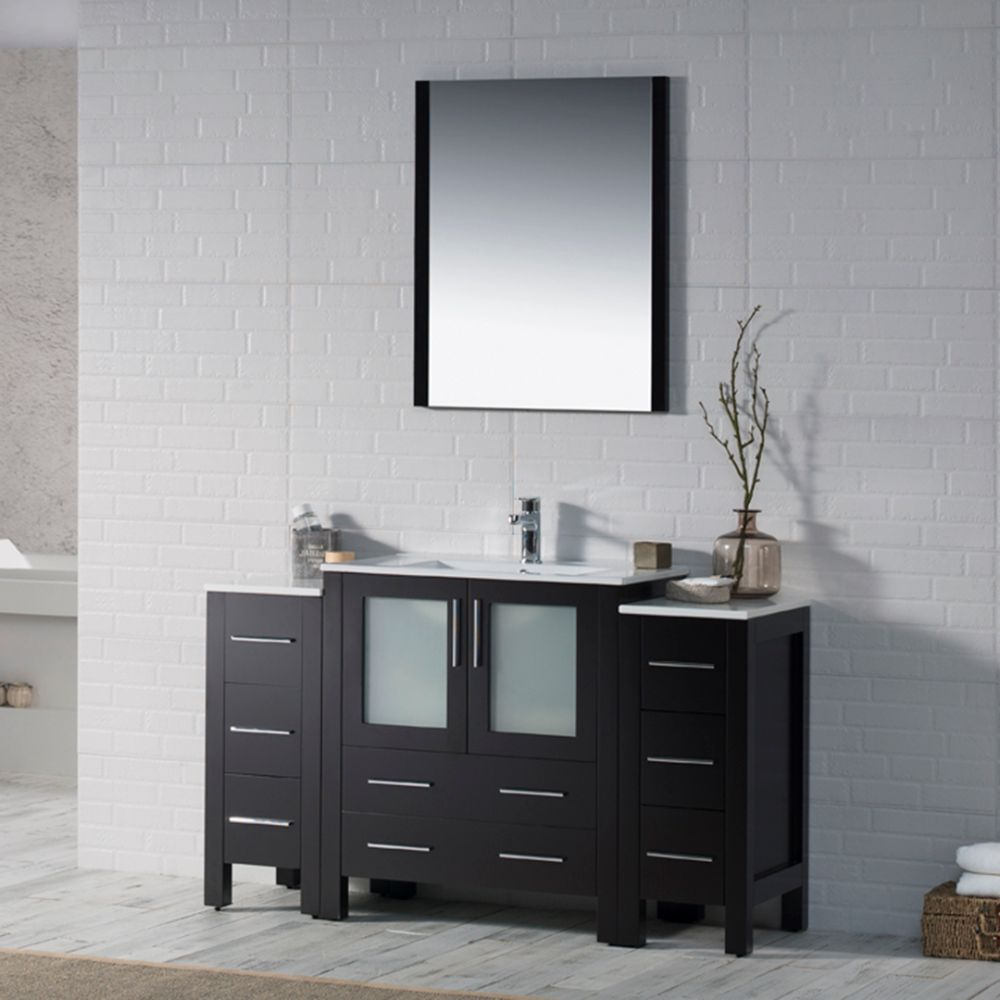 """Sydney Modern 54"""" Bathroom Vanity Set with Double Side Cabinets Espresso"""