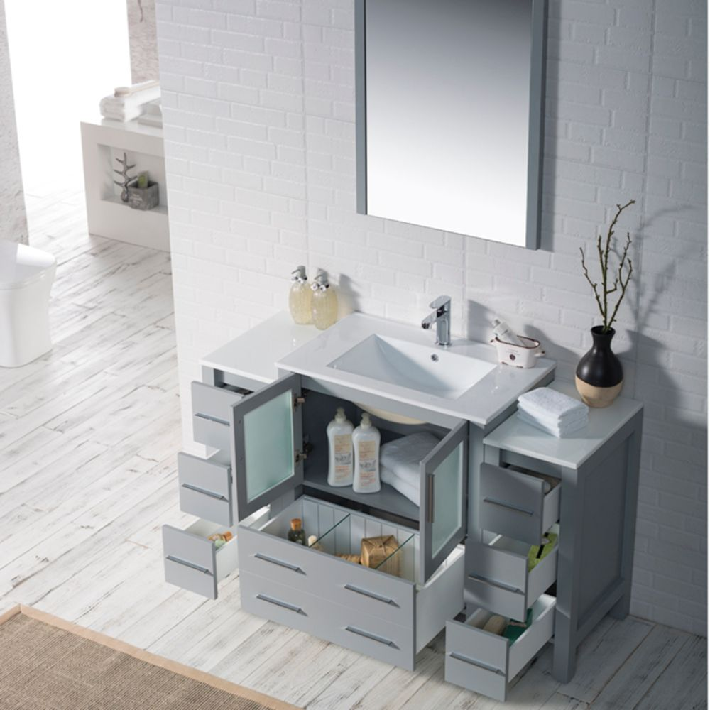 """Sydney Modern 54"""" Bathroom Vanity Set with Double Side Cabinets Metal Gray"""