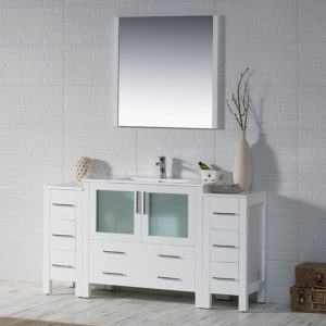 """Sydney Modern 60"""" Bathroom Vanity Set with Double Side Cabinets Glossy White"""
