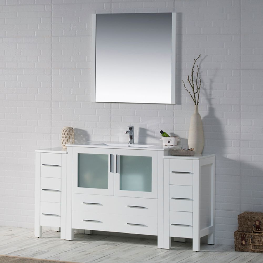 "Sydney Modern 60"" Bathroom Vanity Set with Double Side Cabinets Glossy White"