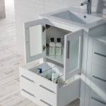 Sydney Modern 60″ Double Bathroom Vanity Set with Mirrors Glossy White