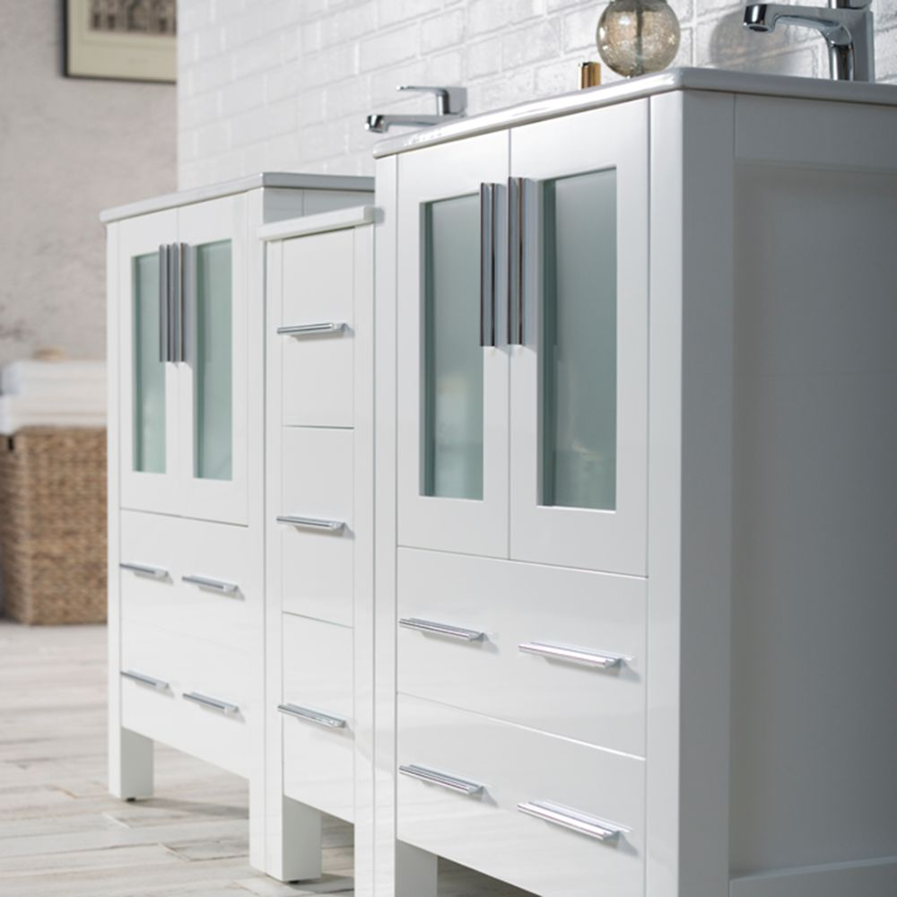 """Sydney Modern 60"""" Double Bathroom Vanity Set with Mirrors Glossy White"""