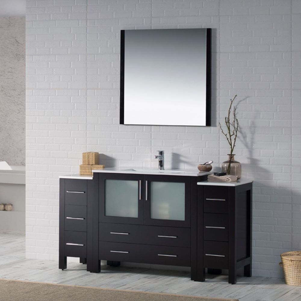 "Sydney Modern 60"" Bathroom Vanity Set with Double Side Cabinets Espresso"