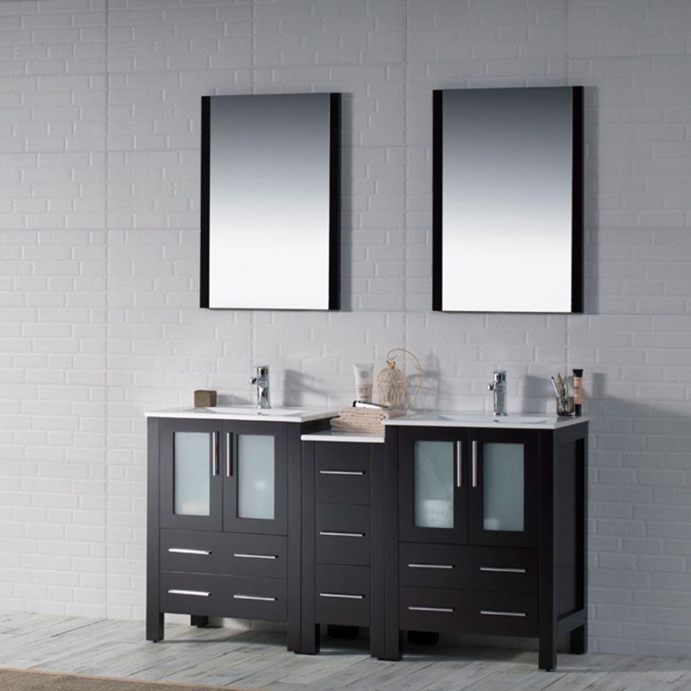 "Sydney Modern 60"" Double Bathroom Vanity Set with Mirrors Espresso"