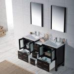 Sydney Modern 60″ Double Bathroom Vanity Set with Mirrors Espresso