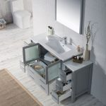 Sydney Modern 60″ Bathroom Vanity Set with Double Side Cabinets Metal Gray