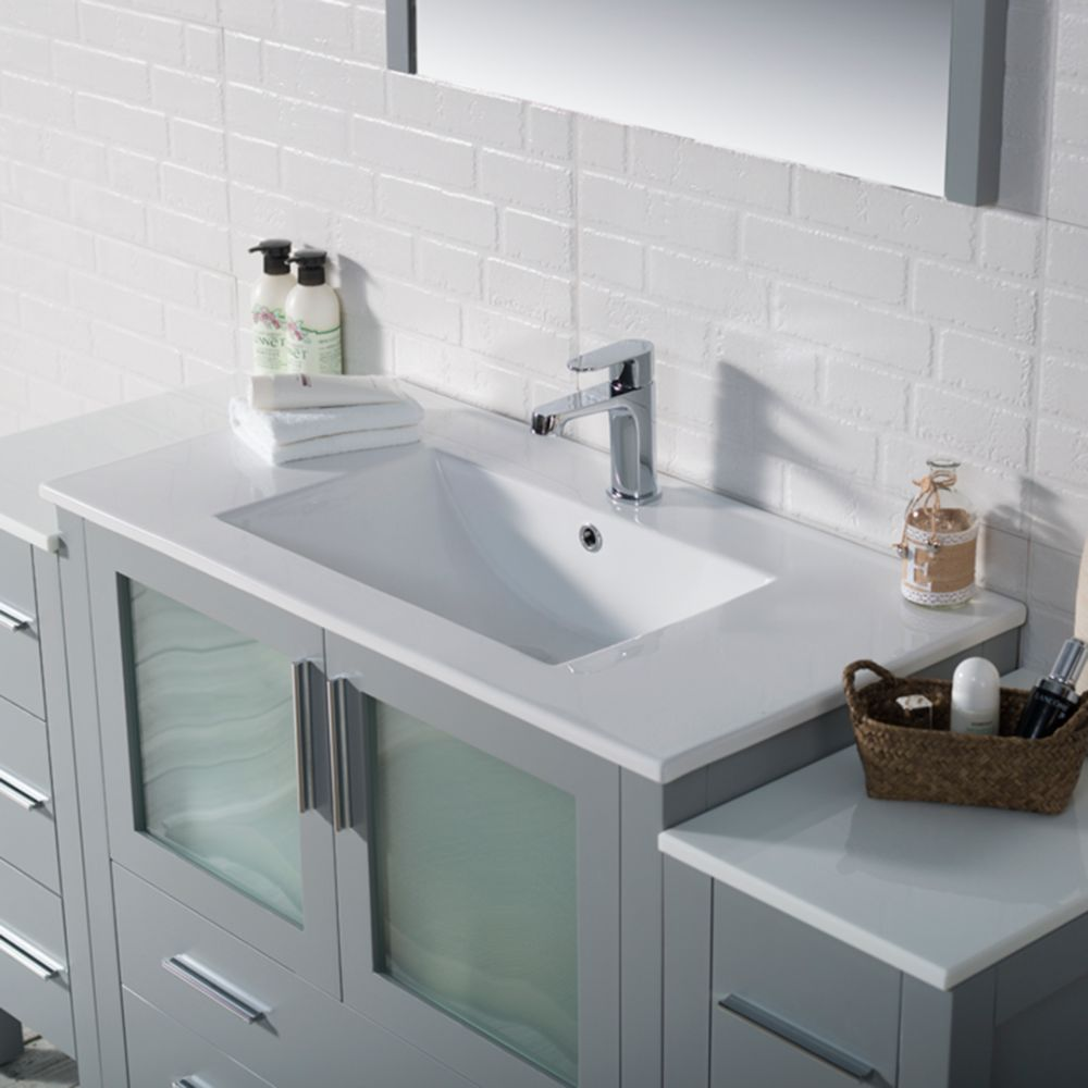 """Sydney Modern 60"""" Bathroom Vanity Set with Double Side Cabinets Metal Gray"""