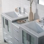 Sydney Modern 60″ Double Bathroom Vanity Set with Mirrors Metal Gray