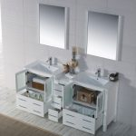 Sydney Modern 72″ Double Bathroom Vanity Set with Mirrors Glossy White