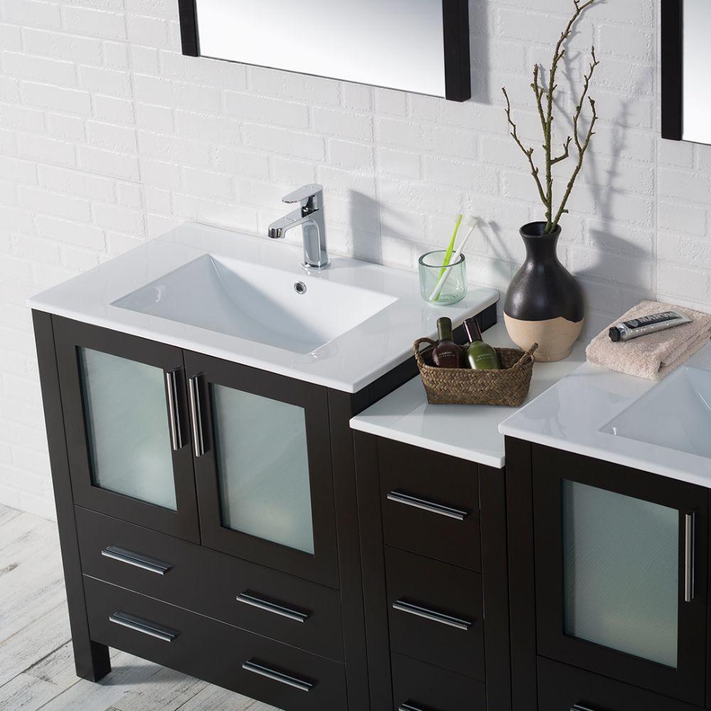 "Sydney Modern 72"" Double Bathroom Vanity Set with Mirrors Espresso"