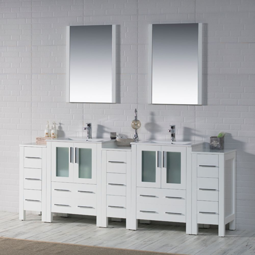 """Sydney Modern 84"""" Bathroom Vanity Set with Double Side Cabinets Glossy White"""