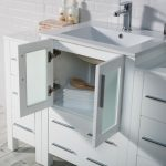Sydney Modern 84″ Bathroom Vanity Set with Double Side Cabinets Glossy White