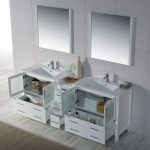 Sydney Modern 84″ Double Bathroom Vanity Set with Mirrors Glossy White