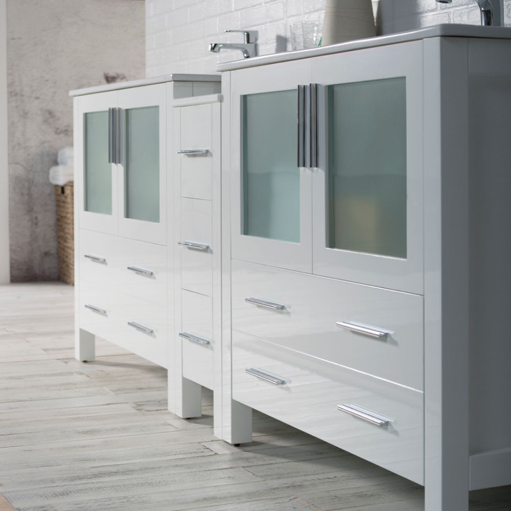 """Sydney Modern 84"""" Double Bathroom Vanity Set with Mirrors Glossy White"""