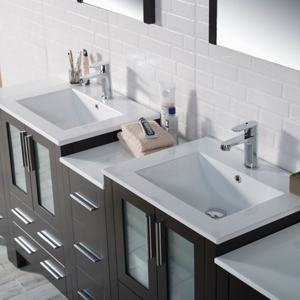 """Sydney Modern 84"""" Bathroom Vanity Set with Double Side Cabinets Espresso"""